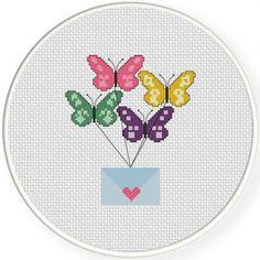 Messenger Butterflies Cross Stitch Illustration