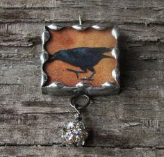 Raven Halloween 1 Inch Glass Soldered by MablesGranddaughter, $15.00