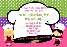 Chef Cooking Birthday Party Invitation By TheTrendyButterfly 1300 Baking Parties
