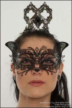 Cat Black Metal Venetian Mask by Atelier