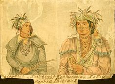 Peoria Native American Indian Tattoos   Artist: George Catlin