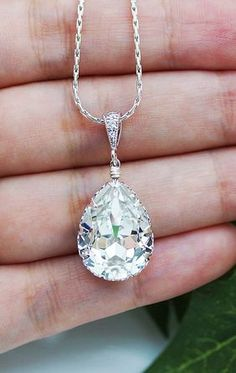 $27.80 Swarovski Crystal Tear Drop Bridesmaid NecklaceBridal jewelry for Weddings, Brides, Bridesmaids, FlowerGirls to Everyday Wear Jewelry ranging from Earrings, Necklaces, Bracelets, Jewelry sets, Hair comb accessories and Personalized Jewelry