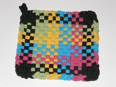 100 Cotton Loop Kitchen Potholder Black Rainbow | eBay
