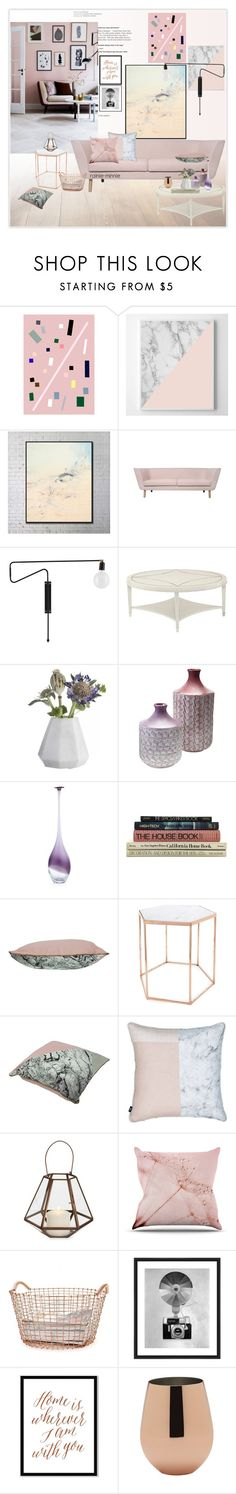 """Pink and Copper"" by rainie-minnie ❤ liked on Polyvore featuring interior, interiors, interior design, home, home decor, interior decorating, Ryder, Bloomingville, Elements and Korbo"