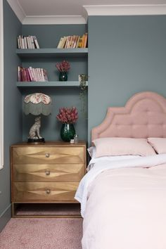 The Pink House bedroom reveal, with Alternative Flooring Capello Shell coral pink carpet, a pink and brass headboard and Oval Room Blue Farrow & Ball walls Blue And Pink Bedroom, Oval Room Blue, Pink Bedroom Decor, Master Bedroom Interior, Bedroom Wall Colors, Pink Bedrooms, Bedroom Ideas, Bedroom Bed, Girls Bedroom