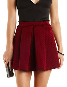 Quilted & Pleated Skater Skirt: Charlotte Russe