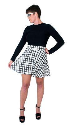 Black and White Skater Skirt Geometric Print by fashionmeme #skirt #winter #windowpane #fashion #etsy