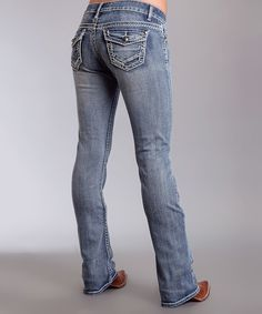 This Stetson Medium Blue Embossed-Button Bootcut Jeans - Plus Too by Stetson is perfect! #zulilyfinds