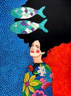 All rights reserved Art And Illustration, Watercolor Portraits, Watercolor Art, Diy Arts And Crafts, Portrait Art, Woman Portrait, Figurative Art, Canvas Art Prints, Pop Art