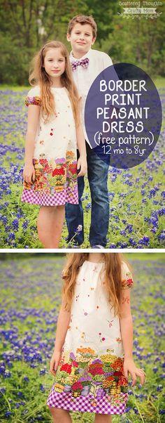 My next sewing project:  Border Print Peasant Dress (free pdf pattern, size 12 mo to 8yrs)