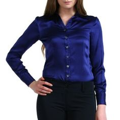 Sandals Cay Women's Y-Neck Satin Silk Blouse - Navy 4 Sandals Cay ...