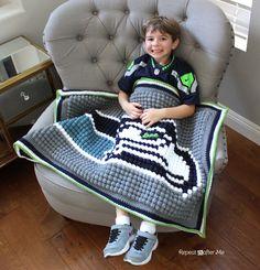 Repeat Crafter Me: Crochet Bobble Stitch Pixel Blanket (Seattle Seahawks Blanket)
