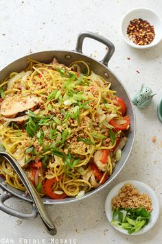 Thai-Inspired Soy Sauce Noodles with Vegetables and Chicken comes together for weeknight dinner in 30 minutes! #recipe