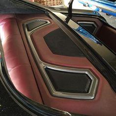 DJ Designs 70 chevelle custom interior red black grey, rear deck trunk, and door panels. grilles
