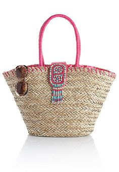 Straw Bag with Coral & Aqua Beaded trim - Versona Accessories - The latest fashion accessory trends
