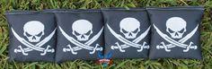 4 Black Skull and Crossbones Cornhole Bags