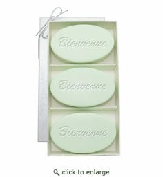 """Bienvenue is the French way to say """"Welcome""""! Invite your guests to relax and enjoy their stay with a touch of Parisian sophistication. They will know how much care was taken to ensure their visit is warm and pleasant with these special soaps. Tres bien!  Green Tea & Bergamot : In Spring Green, Green Tea is known to promote healing, Bergamot is stimulating & rejuvenating.  Each Vermont made bar is a generous 5 ounces, vegetable based and triple-milled for long lasting lather."""
