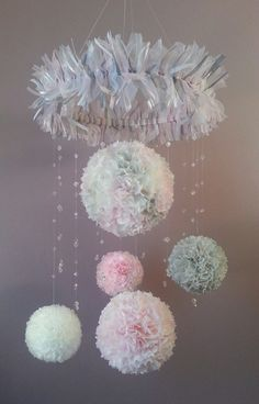 Hanging Decorative Mobile of Pom Pom Paper Flowers, Crystals for Girl's Room or Nursery in light pink, gray and white