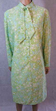 60s/70s Vintage St Michael Psych Floral Pussy Bow Scooter/Shift Dress. Mod