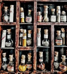 Miniature Apothecary Bottles with Mysterious Contents Apothecary Decor, Glass Apothecary Jars, Apothecary Cabinet, Rue Verte, Witch Herbs, Potion Bottle, Witchcraft, Wiccan, Dollhouse Miniatures