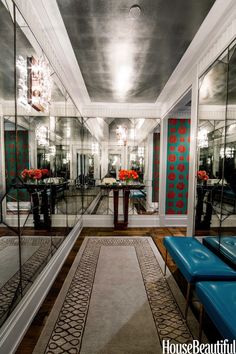 Antiqued mirror, hand cut in an emerald shape and inlaid with brass, visually doubles the width of the entry of a small Manhattan Apartment. A silver-leafed ceiling enhances the light. Colorful Apartment, Foyer Decorating, Elegant Entryway, Manhattan Apartment, Apartment Design, House, Beautiful Homes, Interior Design, Home Decor