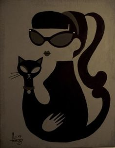 EL GATO GOMEZ PAINTING RETRO MID CENTURY MODERN KITSCHY BLACK CAT PINUP GIRL 50S in Art, Art from Dealers & Resellers, Paintings | eBay