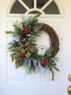 Christmas Wreath-Snowy Owl Wreath-Holiday by ReginasGarden on Etsy