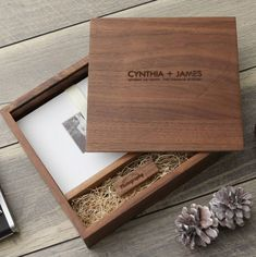 The Best Etsy Wedding Photo Boxes to Gift to Your Clients Junebug Weddings Wooden Gift Boxes, Wood Gifts, Wood Boxes, Diy Wedding Favors, Wedding Boxes, Wedding Album, Wooden Photo Box, Photo On Wood, Wood Box Design