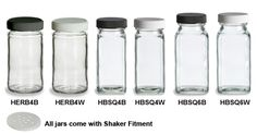 Spice jar blanks with lids and shaker fitments.