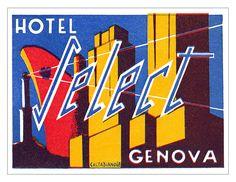 Hotel Select, Genova luggage label