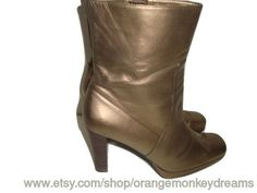 vintage Bronze gold metallic chunky heels ankle boots CHELSEA ZIP Up hipster indie boho women 9 us