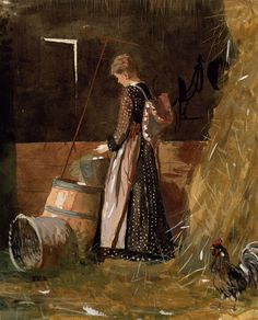 Winslow Homer: Fresh Eggs, 1874. Watercolor, gouache and graphite on paper. Private collection of Mr. and Mrs. Paul Mellon. #Homer #watercolor #realism ...⌘... https://www.nga.gov/feature/homer/homer10.htm