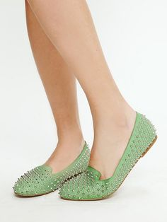 seafoam spiked loafers - Jeffrey Campbell $178 - perfect mix of girly and tough