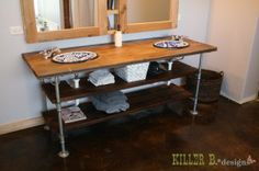 industrial and wood vanity from plumbing items