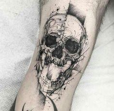 Skull tattoo Art by Blvck Stab - Tattoos Tattoos 3d, Badass Tattoos, Skull Tattoos, Body Art Tattoos, Cool Tattoos, Tattos, Amazing Tattoos, Tattoo Sketches, Tattoo Drawings