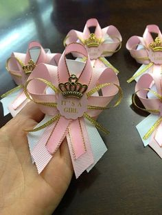 12 pink and gold guest pins for Baby shower by Marshmallowfavors