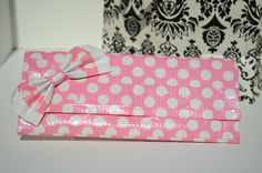 Pink Polka dot duct tape wallet.
