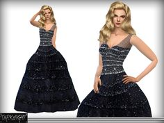 Sequin-Embellished Tulle Gown for Red Carpet.  Found in TSR Category 'Sims 4 Female Everyday'