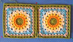 Flower granny square made up of dc-cluster stitches. Free pattern: http://thecreativepenny.blogspot.com/2010/11/kata-free-crochet-square-pattern.html. I made these with crochet thread.