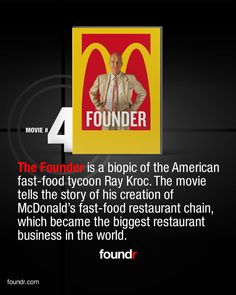 Thought Provoking Movies, Mcdonalds Fast Food, Ray Kroc, American Fast Food, Tv Series To Watch, Fast Food Restaurant, Business, Entrepreneur, People