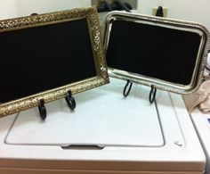 DIY chalk paint on Thrift Shop silver tray - great idea for entertaining - you could write your menu on the trays!