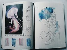 art sketchbook somniatisart: Ocean pages THis gae me an idea: magazine clipping on one page, artwork on the next Textiles Sketchbook, Gcse Art Sketchbook, Fashion Sketchbook, Sketching, Kunst Inspo, Art Inspo, Doodle Drawing, Drawing Tips, Sketchbook Inspiration