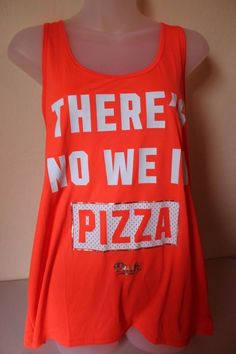"""Victoria's Secret PINK """"There is No We in Pizza"""" Orange Large (L) Tank - NEW #VictoriasSecret #GraphicTee"""