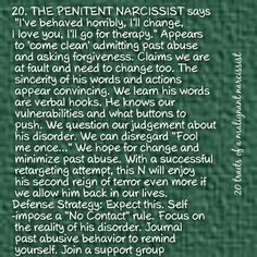 #20...The penitent narcissist. ... 20 traits of a malignant narcissist.