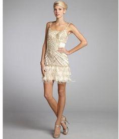 c329e86c1e Sue Wong champagne tulle woven sequin flower applique ostrich feather trim  dress - ShopStyle Evening