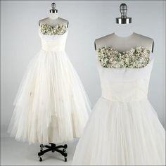 Vintage 1950s Dress  Ivory Tulle  Millinery by millstreetvintage, $225.00