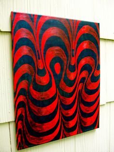 """Red and Green Contours, 2014 acrylic on canvas 16"""" x 20"""" Collection of Elmar Pöselt © copyright Mike Kraus To purchase, please visit: https://www.etsy.com/listing/186507940/custom-commission-original-art-by-mike?  What do I see?  The personal memories and symbols I am trying to express.  Dreams of flashing images.  All the experiences I have imagined.  What do you perceive?"""