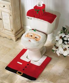 Cheap decorative decorative, Buy Quality decoration christmas directly from China decor rug Suppliers: Merry 2017 Fancy Santa Toilet Seat Cover 3 Pcs Bathroom Set Contour Rug Christmas Decorations Natal Navidad Decor Blending Tacky Christmas, Best Christmas Gifts, Christmas Humor, Ugly Christmas Sweater, Merry Christmas, Cheap Christmas, Christmas Time, Christmas Presents, Christmas Deals