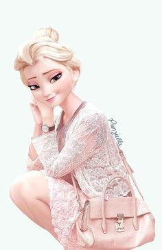 Here's Elsa, looking pretty in pink. | This Is What Disney Characters Would Look Like In The Modern World
