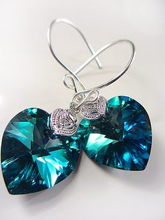 Swarovski Teal Blue Heart Earrings Crystal Heart by NataliaKh, $24.77